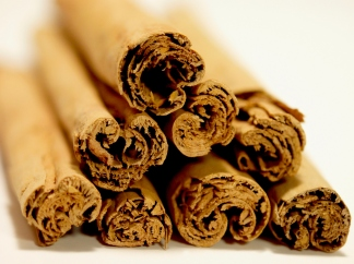 Close-up of a pile of cinnamon sticks